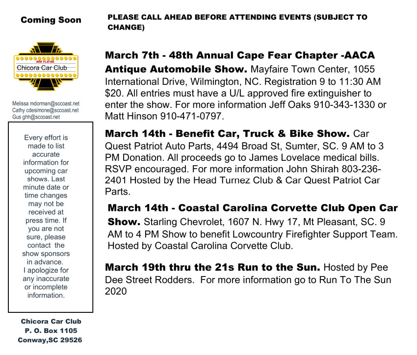 Upcoming Events - Any car shows near me